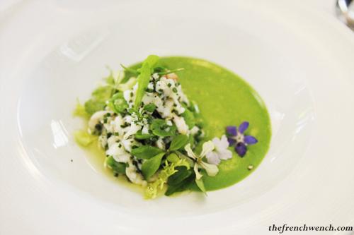 ... Crab, Marjoram, Chive & Broad bean salad, Chilled Fresh Pea Puree