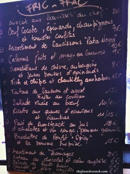 Fric Frac menu