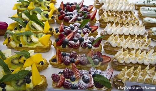 Sweet eclairs display